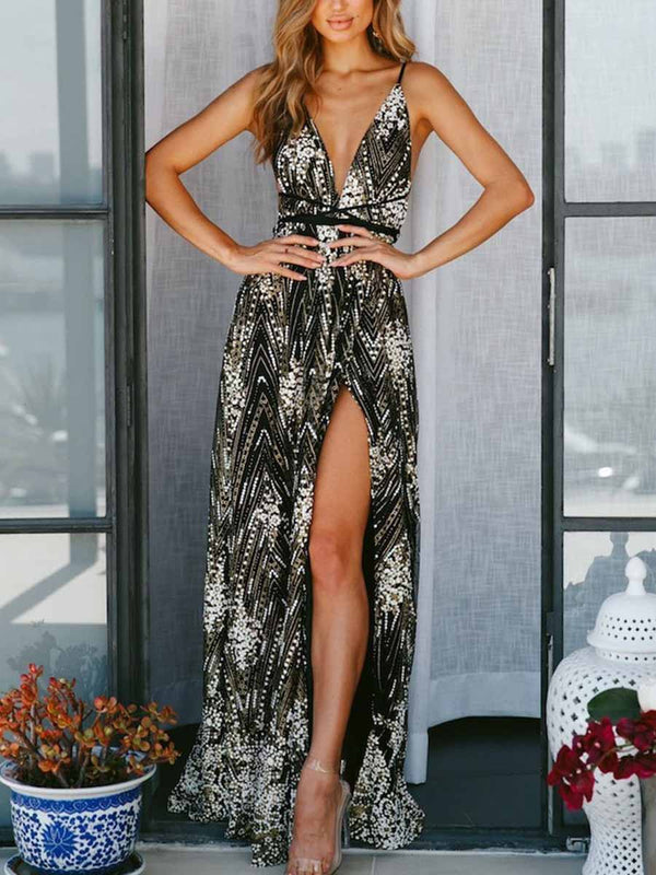 Striped Beaded Embellished V Neck Slit Maxi Prom Evening Dress