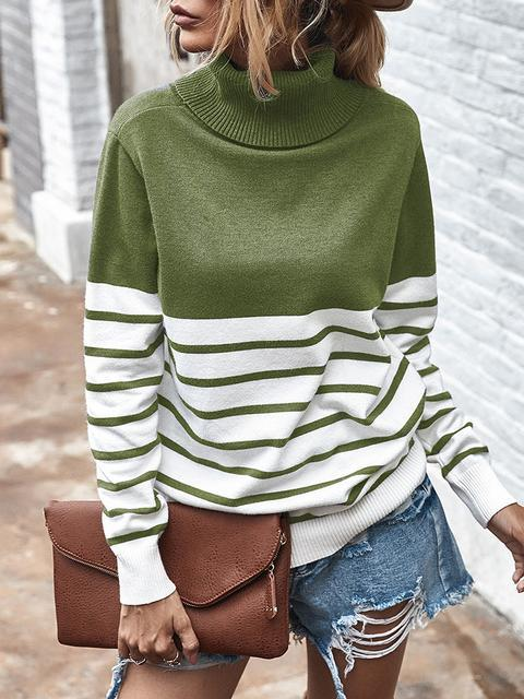 Striped Casual Turtleneck Sweater