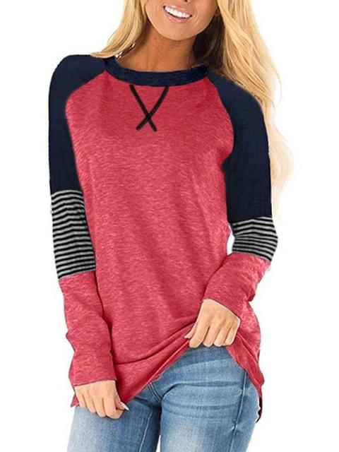 Striped Color Block Casual Tunic Tops