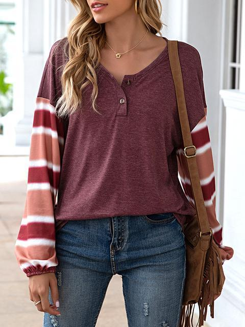 Stripes Patchwork Button Up Casual Tops