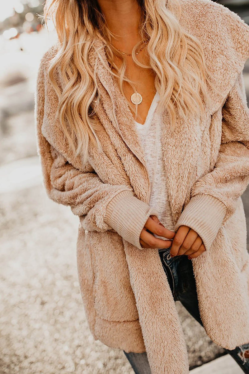 Cozy Pocketed Hooded Cardigan Coat - Landing Closet