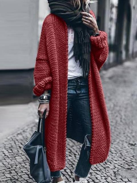 Thick Solid Long Cardigan Sweater