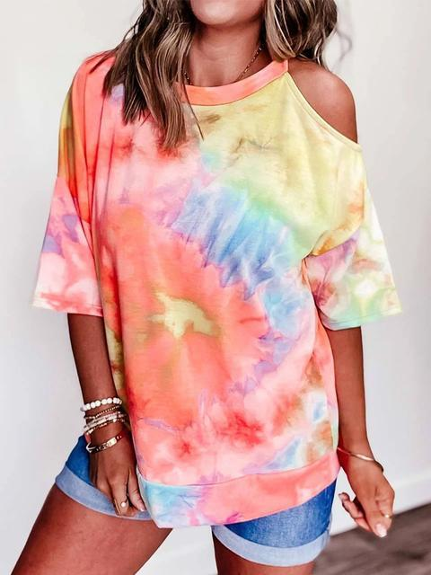 Tie-dye Print Cold Shoulder T-shirt