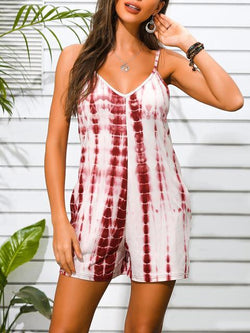 Tie-dye V Neck Sleeveless Romper