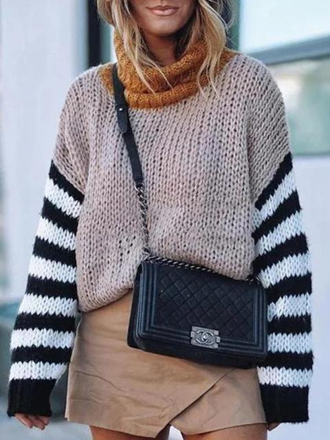 Turtleneck Striped Sleeve Print Sweater