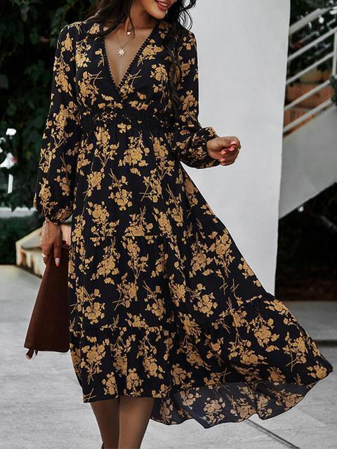 V Neck Print Waist Midi Casual Dress