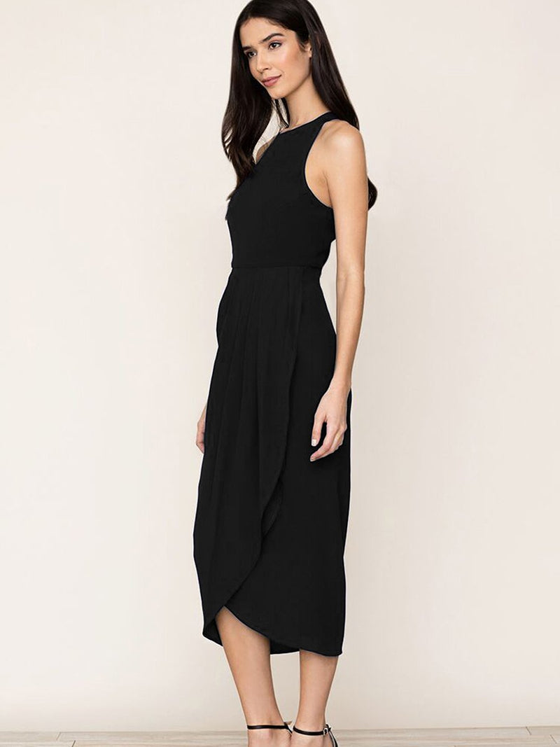 Black So Social Round Neck Sleeveless Irregular Hem Midi Dress - Landing Closet