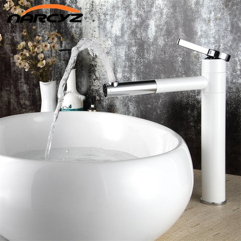 Contemporary White Single Handle 360 Swivel Bathroom Faucet   2 Height  Options