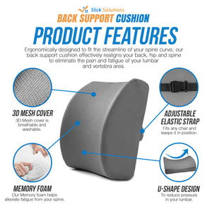 Back Support Cushion (Gray) - Jockey Saddle - Memory Foam Lumbar Support Pillow with 3D Mesh Cover for Balanced Firmness by Slick Solutions