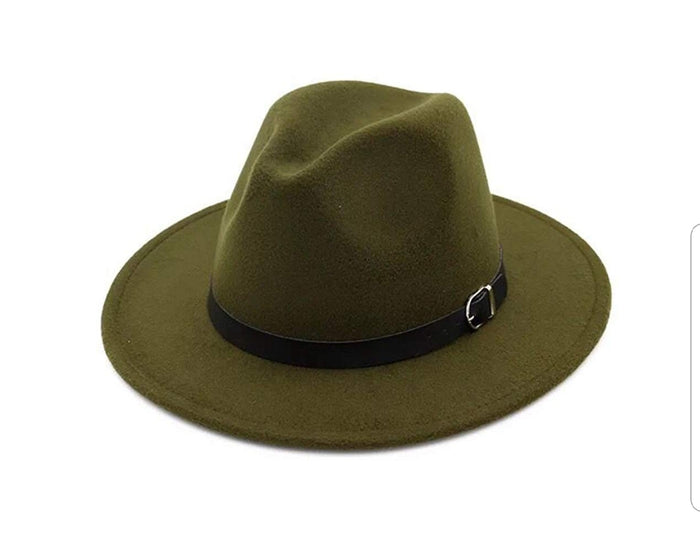Hope Army Green Wide Brim  Hat with  Buckle Wool Fedora Hat