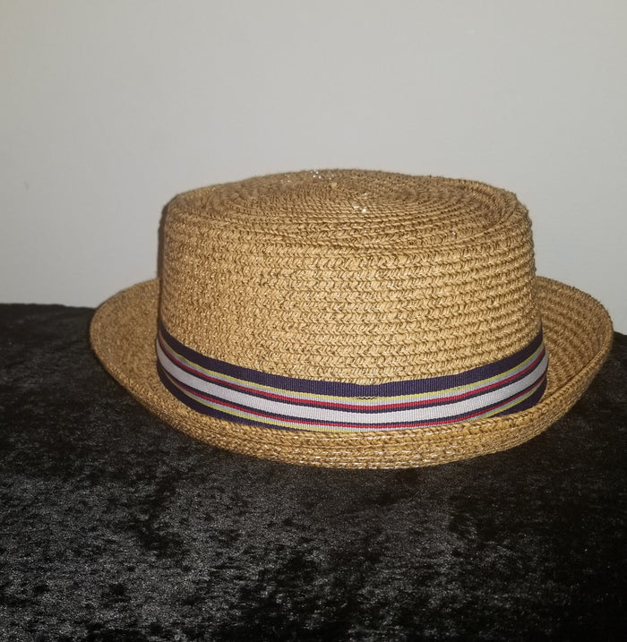 Jase Brown Paper Straw Hat multi color trim