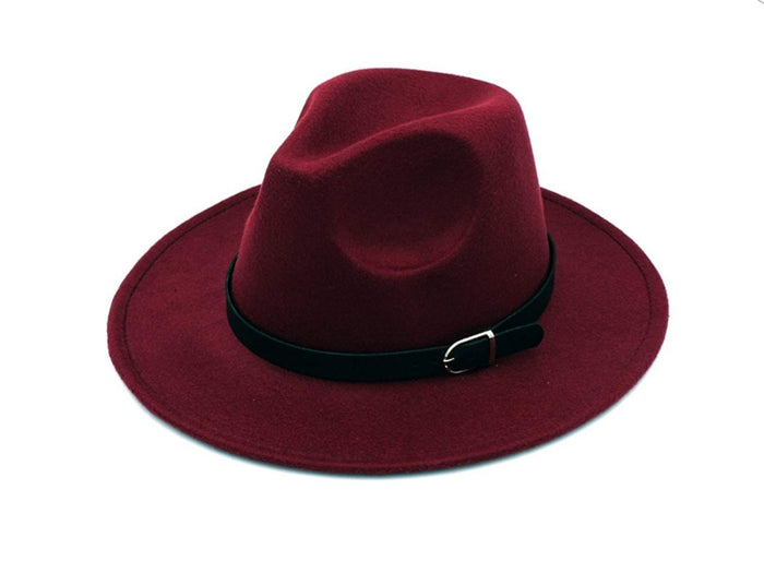 Maroon Fedora Hat with Belt Buckle