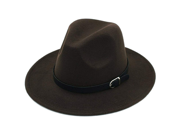 Black Fedora Hat with Belt Buckle