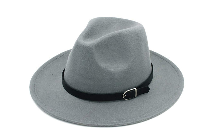 Grey Fedora Hat with Belt Buckle