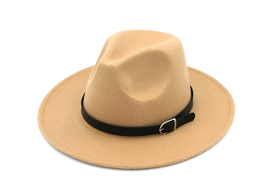 Tan Fedora wide brim hat with buckle