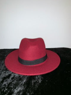 Tyler Wine Red Retro Style Wide Brim Panama Hat