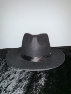 Tina Black Wool Felt Wide Brim  Pork Pie Hat