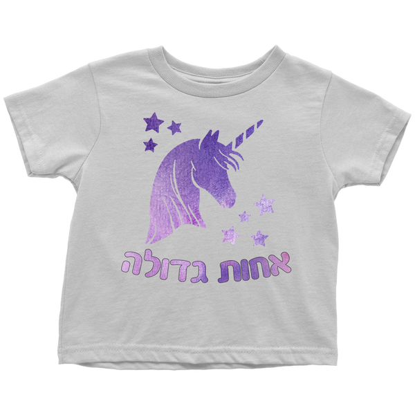 Big Sister Hebrew T-Shirt with Unicorn
