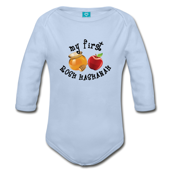 My First Rosh Hashanah Long Sleeve Organic Bodysuit - sky