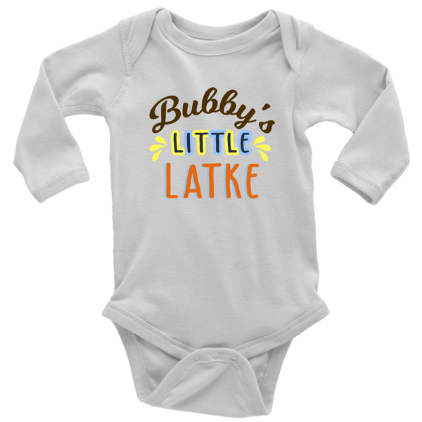 bubbys little latke bodysuit long sleeve white