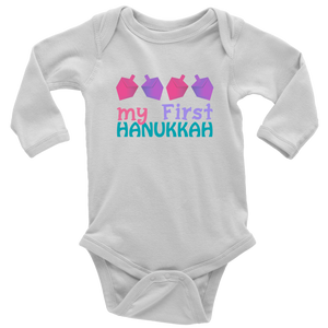 My First Hanukkah Baby White Bodysuit