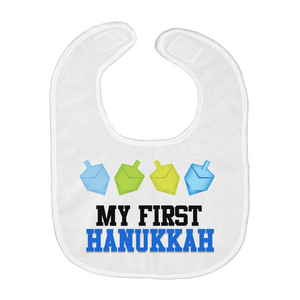 My First Hanukkah Baby Bib Dancing Dreidels Blue and Yellow