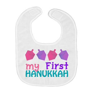 My First Hanukkah Baby Bib Pink and Purple Dreidels