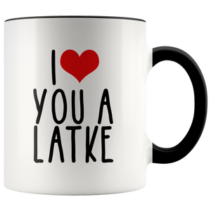 i heart you a latke black handle mug