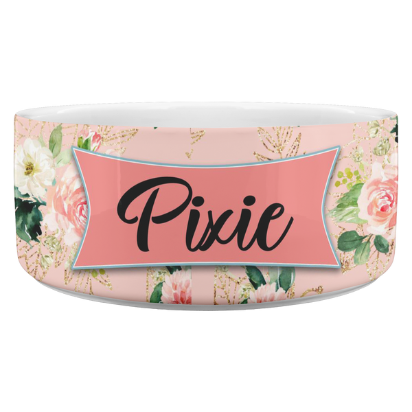 Personalized Pet Bowl - Floral
