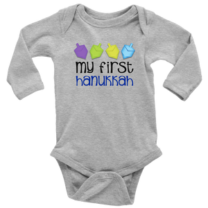 first hanukkah bodysuit grey