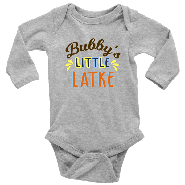 bubbys little latke bodysuit long sleeve heather