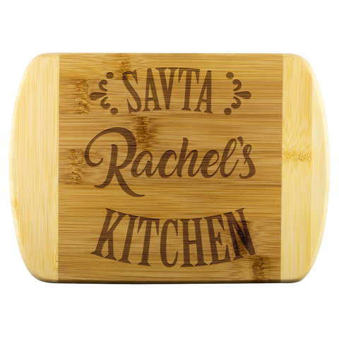 savta kitchen bamboo cutting board with name