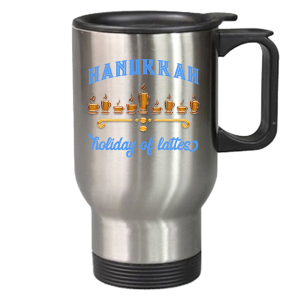 silver thermal mug hanukkah