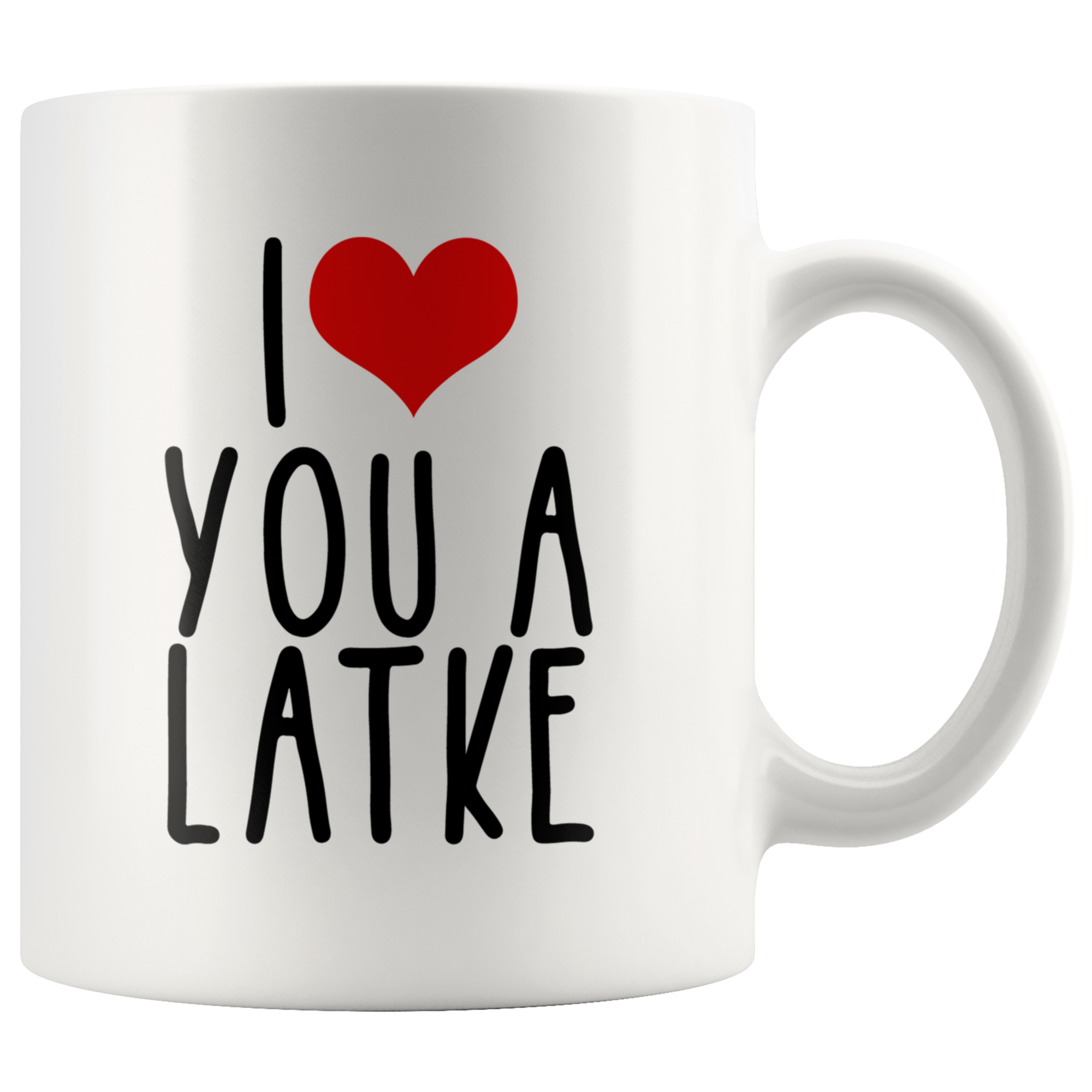 i heart you a latke mug