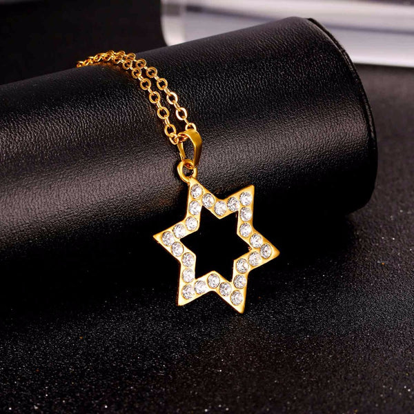 Large Dazzle Rhinestone Magen David Necklace