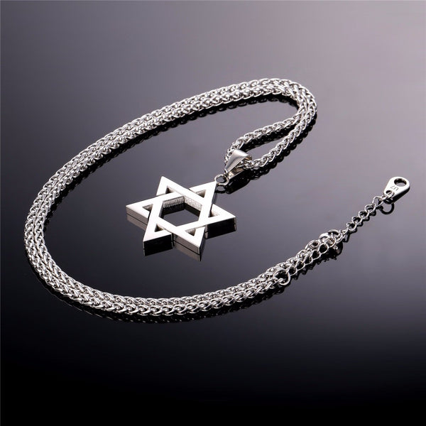 silver color magen david with chain