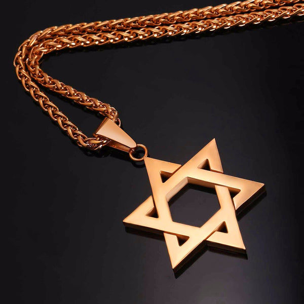 rose gold colored star of david