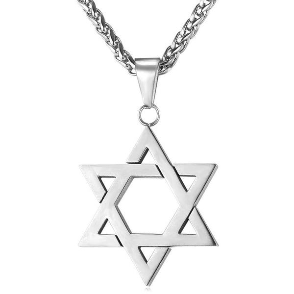silver steel star of david necklace