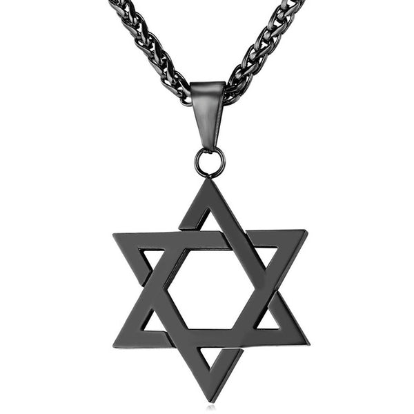 carbon steel magen david neckalce