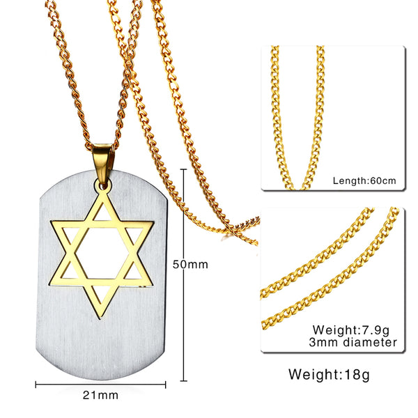 Magen David Dog Tag Pendant for Men