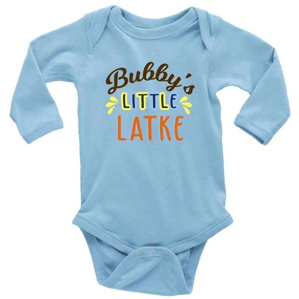 bubbys little latke bodysuit long sleeve blue