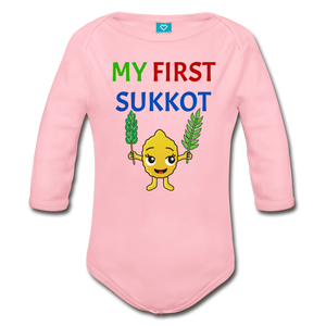 My First Sukkot Organic Long Sleeve Baby Bodysuit - light pink