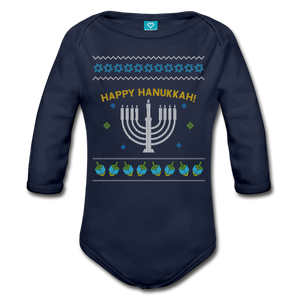 Hanukkah Ugly Sweater Organic Baby Long Sleeve Bodysuit - dark navy