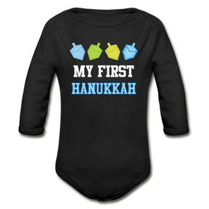 My First Hanukkah Organic Long Sleeve Baby Bodysuit - black