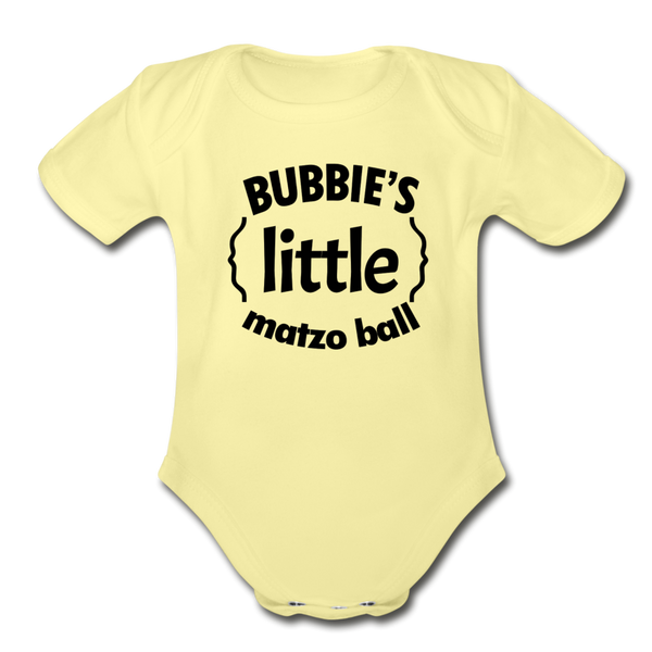 Bubbie's little Matzo Ball Organic Short  Sleeve Baby Bodysuit - washed yellow