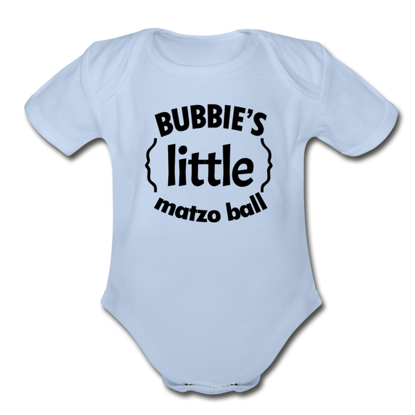 Bubbie's little Matzo Ball Organic Short  Sleeve Baby Bodysuit - sky