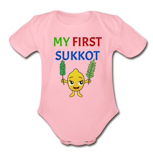 My First Sukkot Organic Short Sleeve Baby Bodysuit - light pink