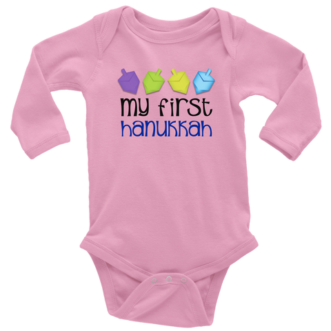 first hanukkah bodysuit pink