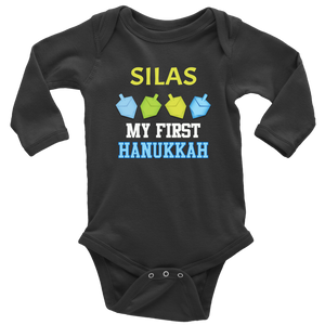 babys first hanukkah bodysuit with name