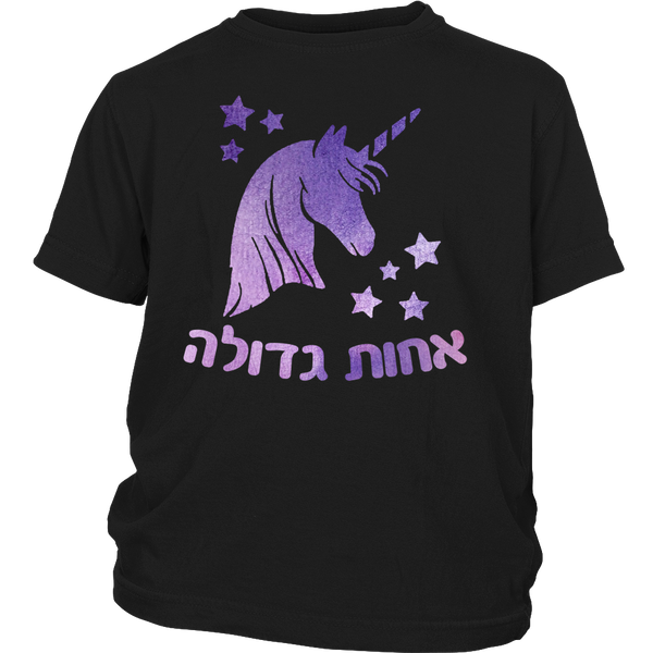 Big Sister Hebrew T-Shirt with Unicorn , Youth